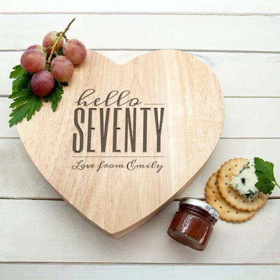 Personalised Hello Seventy Birthday Heart Cheese Board