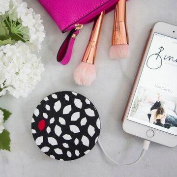 Coco LED Compact Mirror And Powerbank - Lulu Guiness Scattered Lips