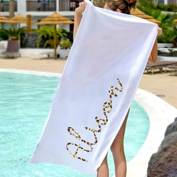 Personalised Leopard Print Name Beach Towel