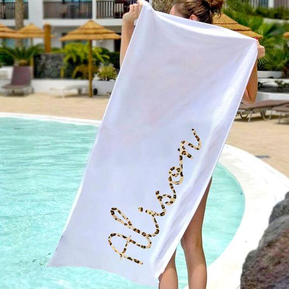Personalised Leopard Print Name Beach Towel