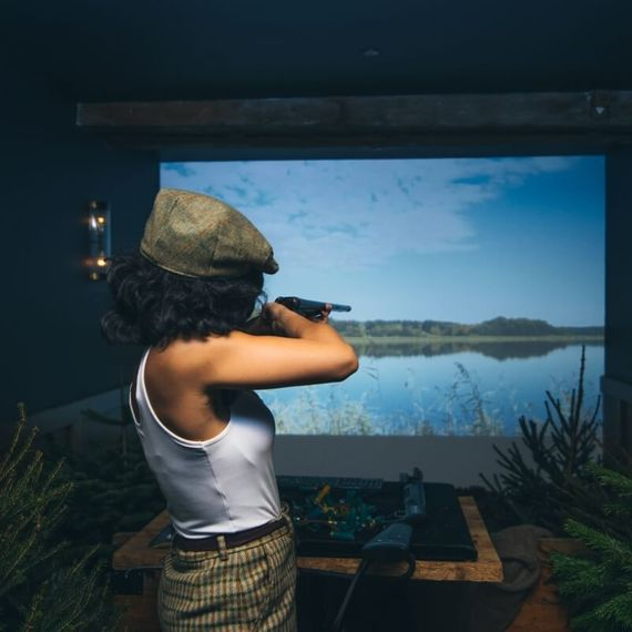 Two Courses with Fizz and Virtual Shooting Experience for Two at Mac and Wild, City