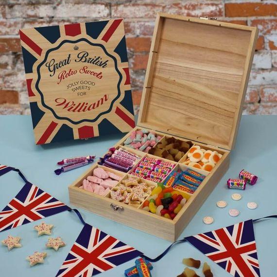 Personalised Great British Retro Sweet Box