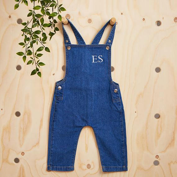 Personalised Initials Baby Denim Dungarees