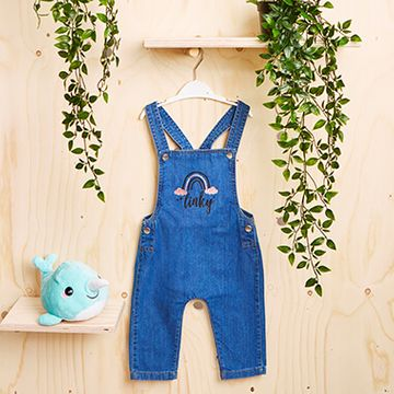 Personalised Rainbow Denim Dungarees
