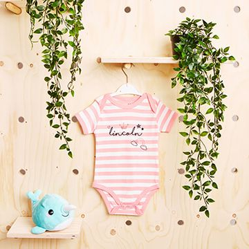 Personalised Fairytale Pink Striped Bodysuit