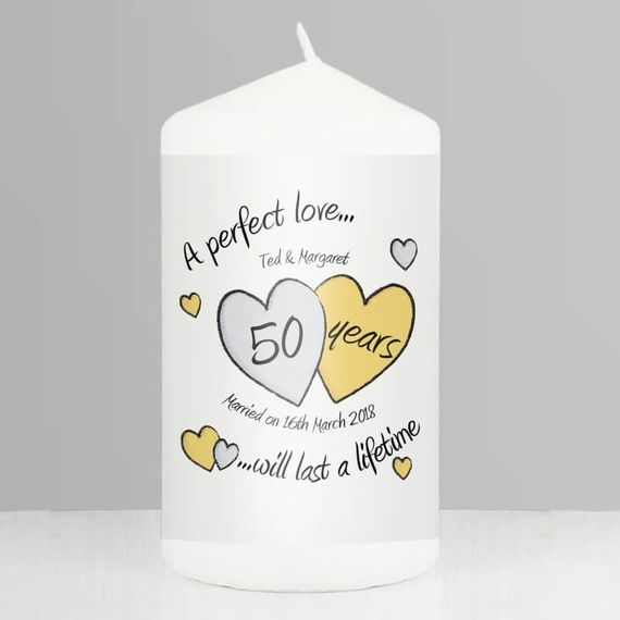Personalised Gold Anniversary Candle