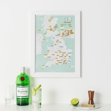 UK Gin Distilleries Scratch Off Print