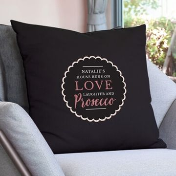 Personalised Exclusive Black Prosecco Cushion Cover