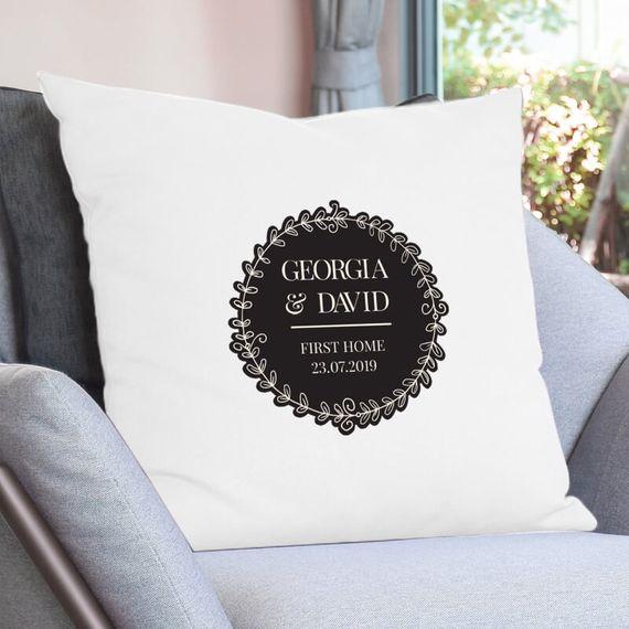 Personalised Exclusive Wreath Design Cream Cushion Cover