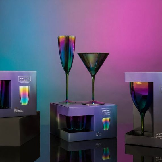 Aurora Oil Slick Champagne Glasses  Set Of 4