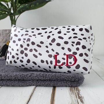 Personalised Dalmatian Print Embroidered Wash Bag