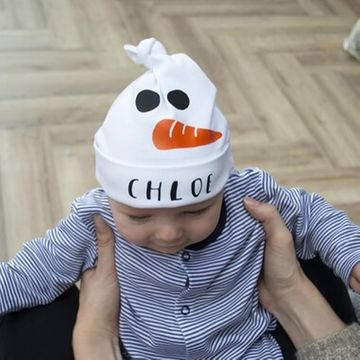 Personalised Snowman Baby Hat