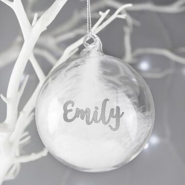 Personalised Feather Glass Bauble