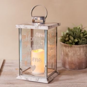 Home Sweet Home Glass Marble LED Candle Lantern