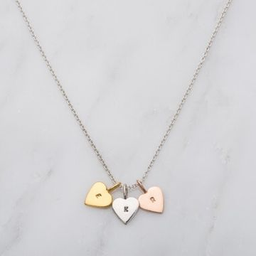 Personalised Tricolour Mini Heart Necklace