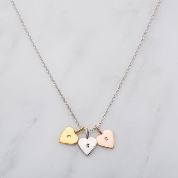 Personalised Tricolour Mini Heart Necklace