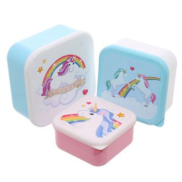 Unicorn Design Lunch Boxes - Set Of 3