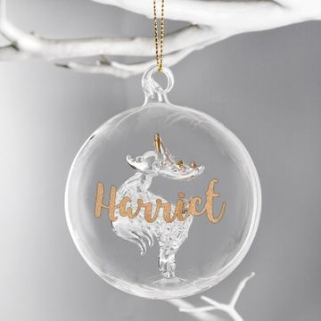 Personalised Reindeer Glass Bauble