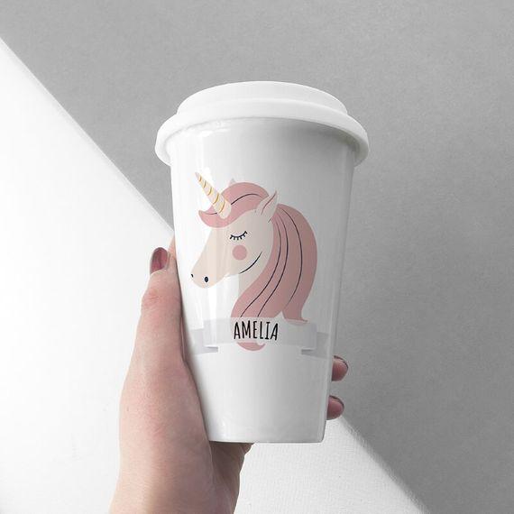 Personalised Unicorn Travel Mug