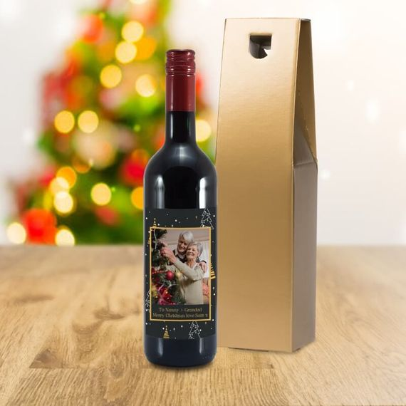 Personalised Christmas Photo Label Red Wine