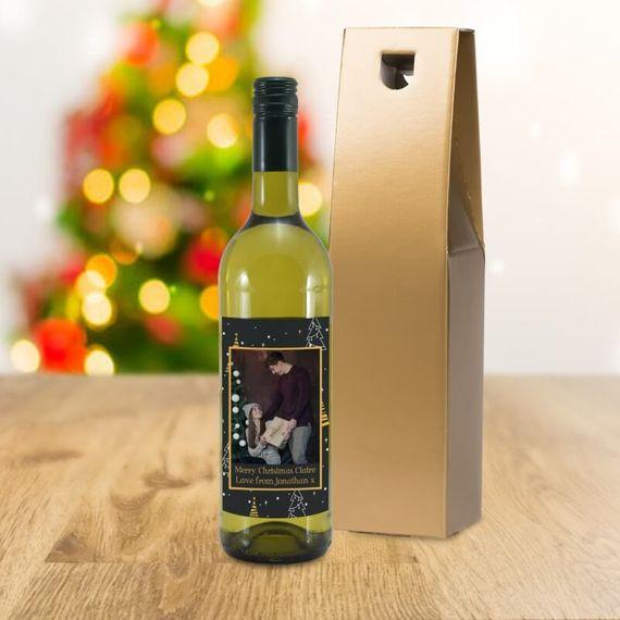 Personalised Christmas Photo Label White Wine