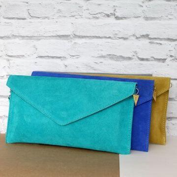 Personalised Suede Envelope Clutch Bag