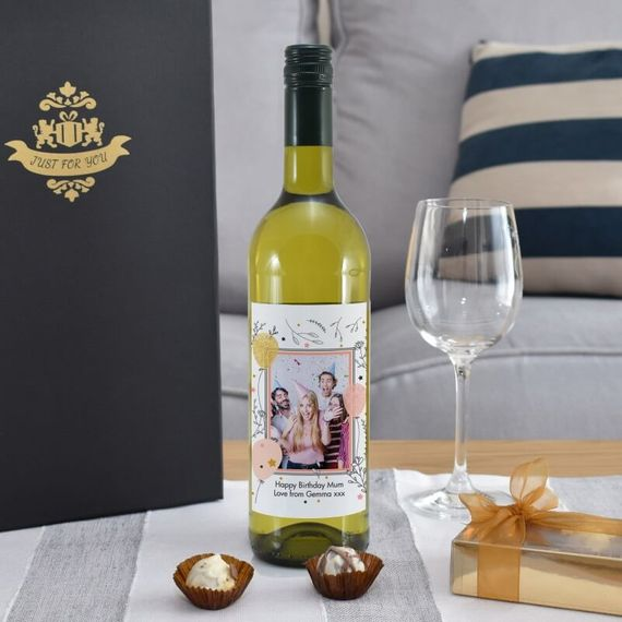Personalised Birthday Photo Label White Wine