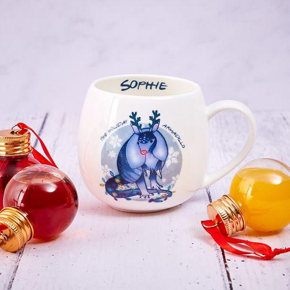 Personalised Holiday Armadillo Hug A Mug