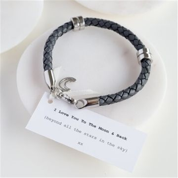 Personalised Leather Moon & Back Men's Bracelet