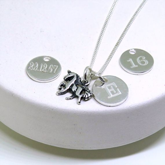 Personalised Mini Disc and Unicorn Necklace