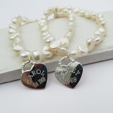 Personalised Heart Tag Pearl Bracelet