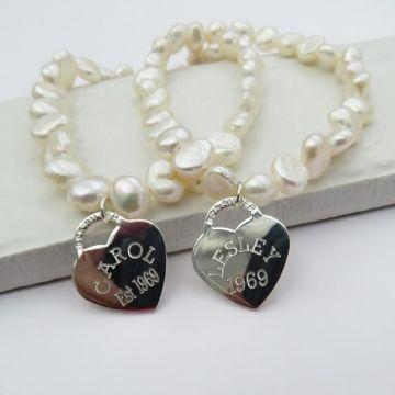 Personalised Heart Tag Pearl Bracelet