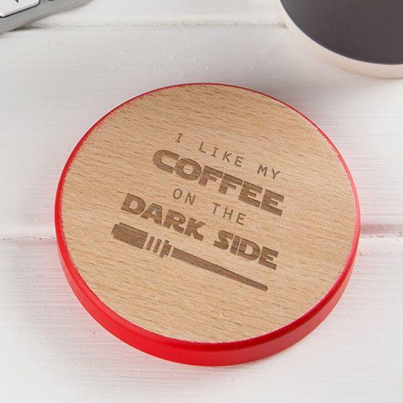 Personalised Coffee on the Dark Side Coaster