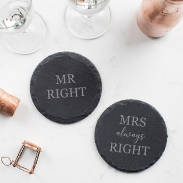 Personalised Couples Slate Coaster Set