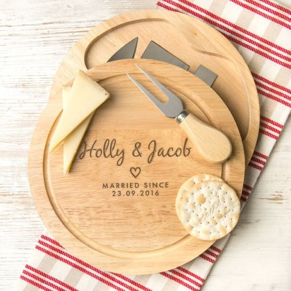 Personalised Couples Heart Cheese Board Gift Set