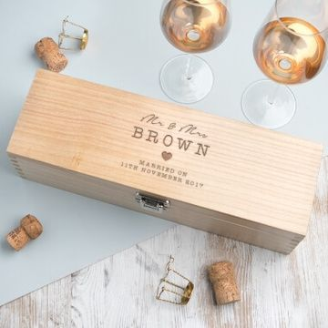 Personalised Wedding Wooden Wine Gift Box