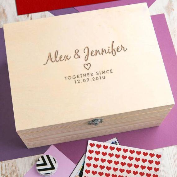 Personalised Anniversary Wooden Keepsake Box