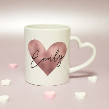 Personalised Rose Gold Heart Handled Mug
