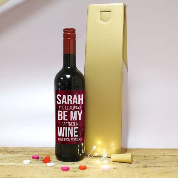 Personalised Always Be My Partner Wine Gift Set