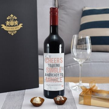 Personalised Cheers To Being Single Red Wine and Glass Gift Set