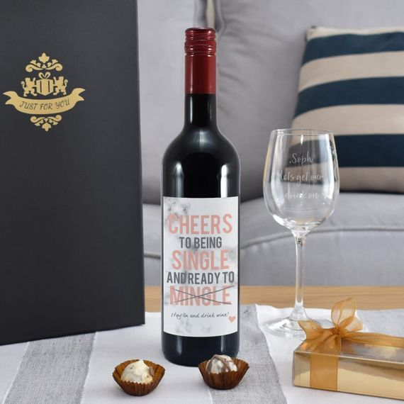 Personalised Cheers To Being Single Red Wine Gift Set