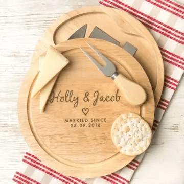 Personalised Couples Heart Cheese Board Set