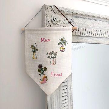 Personalised Birth Flower Hanging Banner
