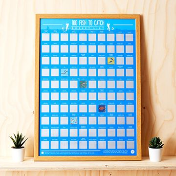 100 Fishing Scratch Off Poster