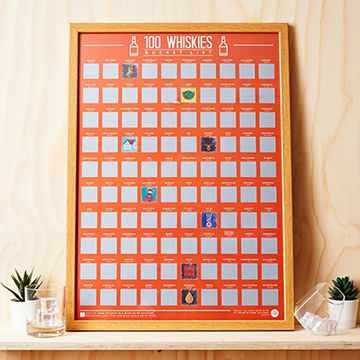 100 Whiskys Scratch Off Poster