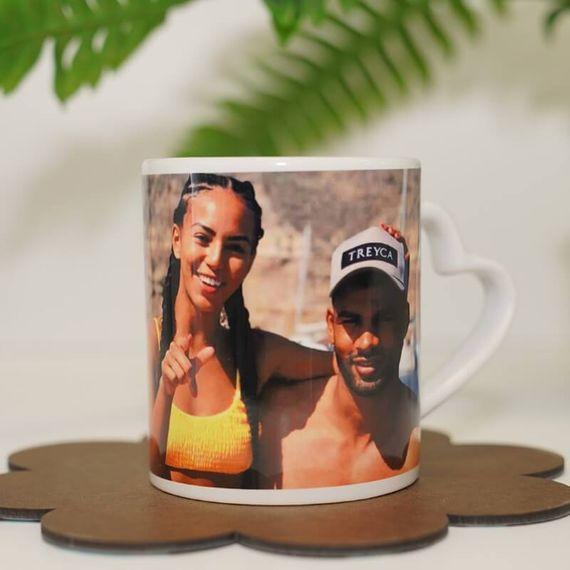 Personalised Photo Heart Handle Mug