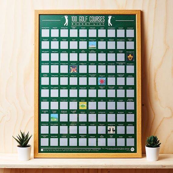 100 Golf Courses Scratch Off Poster