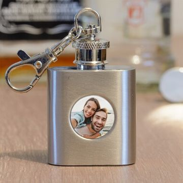 Personalised Photo Keyring Hip Flask