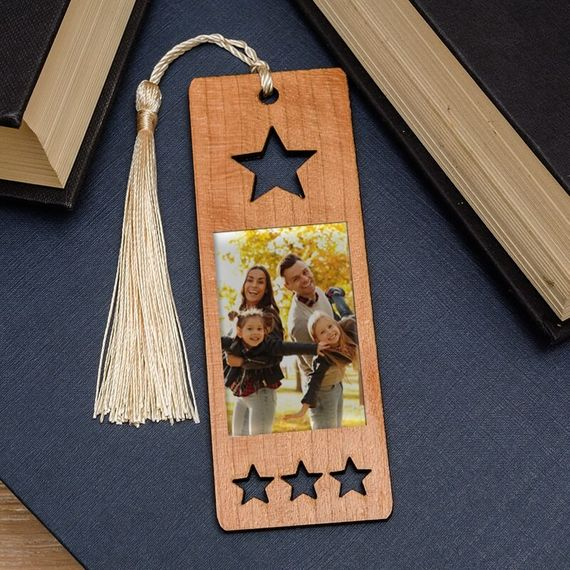 Personalised Photo Wooden Book Mark - Star