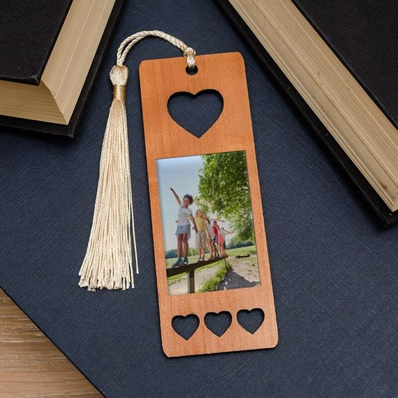 Personalised Photo Wooden Book Mark - Heart